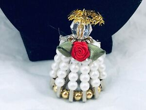 ARTISAN CLEAR CRYSTAL FAUX PEARL GOLD BEADED ANGEL/HALO/ROSE BROOCH