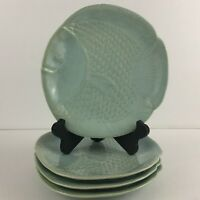 Set of 4 Salad Plates by Pottery Barn Malibu Figural Fish Plate Beach Nautical