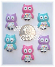 6PC HOOTIE PATOOTIE HOOT OWL PINK BLUE LAV FLATBACK RESINS 4 HAIRBOW BOW CENTER