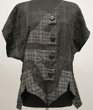 PRISA EUROPEAN LAGENLOOK CRINKLED ASYM BUTTONED CARDIGAN TOP CHARCOAL Sz 0 $279