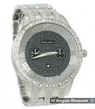 "mens big silver steel hip hop CZ ice out black dial watch 8"" link bracelet"