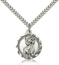 """Saint Christopher Catholic Church  Pewter Medal w/24"""" Heavy Stainless Chain"""