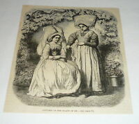 1878 magazine engraving ~ COSTUMES OF THE ISLAND OF RE