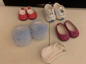 AMERICAN GIRL SHOE LOT ~ FUZZY SLIPPERS, CHEER SHOES, SOCKS