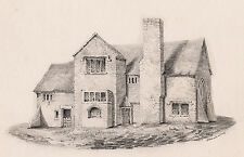 George W CUMMING Original 1800s Drawing Old English Cottage SIGNED