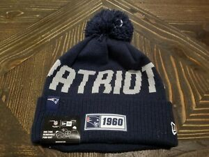 New Era New England Patriots Winter Hat Cap Navy Blue Lined One Size Fits Most