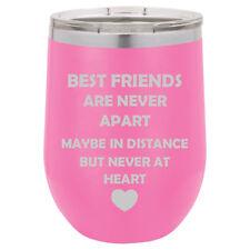 Stemless Wine Tumbler Coffee Travel Mug Glass Best Friends Long Distance Love