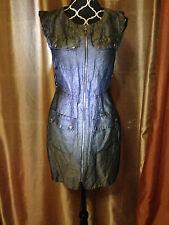 Cynthia Steffe Black Linen Silk 4-Pocket Casual SL Dress sz S