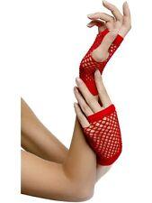 Short Red Fishnet Gloves 80's Gloves - Sent From UK - Ladies Fancy Dress