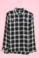 GUESS Los Angeles Karo-Bluse aus Viskose mit Schmuckstein-Applikation M schwarz