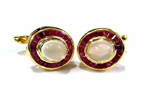 925 Sterling Silver Gold plated Beautiful Faceted Ruby & Moonstone Men's Cufflin
