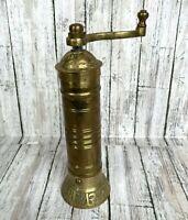 "Vtg Pepper Mill Grinder Brass Hank Crank 7 3/4"""
