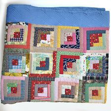 Blue Log Cabin Vintage Amercian Quilt - 100% Hand Stitched Cottons - 68x104