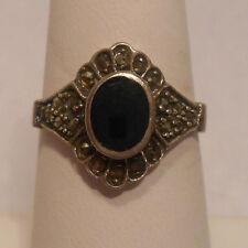 Vintage Anique Estate~Black Onyx & Marcasite 925 Sterling Silver Ring Size 6