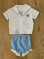 VTG Baby Nautical Sailor Suit 0-6 Months Blue White Check Embroidered Boys