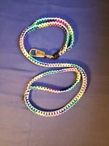 Handmade Paracord Dog Leash King Cobra 4ft Double Handle Rainbow