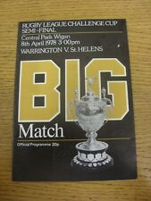 08/04/1978 Rugby League Programme: Challenge Cup Semi-Final, Warrington v St Hel