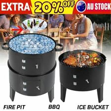 NEW Euro-Grille 3in1 Charcoal Smoker BBQ Grill Roaster Portable Steel Steamer AU