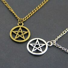 Pendant Necklace Pentagram Wicca Chain Necklace Jewelry Pagan SILVER GOLD BRONZE