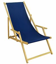 Chaise Longue de Plage Lit Soleil Transat pour Jardin Bleu Nature 10-307 N