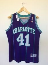 Vintage Alonzo Mourning Charlotte Hornets Champion NBA Jersey. Sublimated Print.