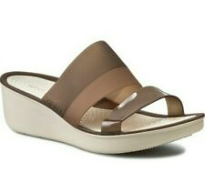 Crocs Colorblock Wedge Sandals Womens size 10 White Tan Brown