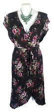 CITY CHIC Dress - Retro Vintage Floral Lurex Black Pink Red Green Wrap - XL/22