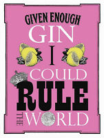 Vintage Style Retro Metal Sign FUNNY GIN Kitchen Wall Art Picture Gift For Women
