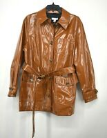 Topshop Women Casey Brown Belted Glossy High Impact Button Front Jacket $110 NWT