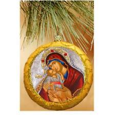 """Virgin Sweet Kissing (Glykophilousa) GOLD Religious Christmas Ornament 4 3/4 """""""