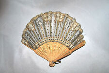 """Antique Ladies 19th Century French Small Fan Gray & Silver Sequins Wood 6 3/4""""L"""