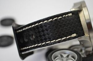 MA WATCH STRAP 26 24 22MM GENUINE CALF LEATHER PAM STYLE BAND CARBON FIBER WHITE