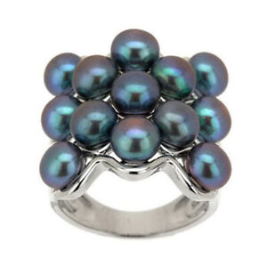 QVC Honora Black Cultured Pearl Bold Wave Design Sterling Ring Size 5 $199
