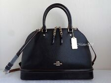 Coach NWT F54664 Sierra Satchel in Pebble and Patent Leather Black