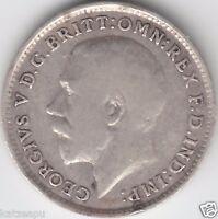 Großbritannien 1916 George V.- Three pence  Silver Münze