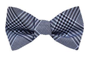 Men's Big & Tall Gray Blue Classic Plaid Silk  XL Self Tie Bowtie Wedding Formal