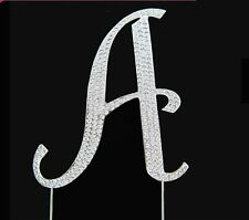 Silver Letter Initial A Birthday Crystal Rhinestone Cake Topper A Party Monogram