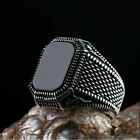 Men Black Sapphire Ring Fashion 925 Silver Rings Gift Punk Jewelry Size 6-13