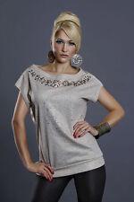 Lockre Sitzende Hüftlang Damenblusen,-Tops & -Shirts ohne Kragen und Baumwolle