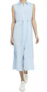 Theory Linen Shirt Dress Periwinkle Blue Women Size Large New $375