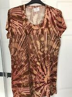 Ulla Popken ladies tunic top plus size 20/22 pink brown stretch cotton longline
