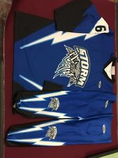 """Sublimated Jersey, Shell And Socks Set, Size Large """"Storm"""" With Numbers And Name"""