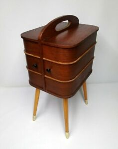 60er Danish Design Nähschränkchen Teak Sewing Box Kommode Nähkasten