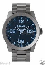 Nixon Original Corporal SS A346-1427 Gunmetal / Blue Crystal 48mm Watch