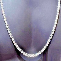 Delicated 22 Ct Round Cut Diamond Tennis Necklace 14K White Gold Over