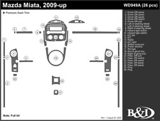 MAZDA MIATA 2009 2010 2011 DASH TRIM KIT a