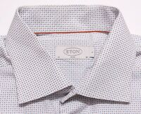ETON OF SWEDEN Slim Fit Long Sleeve Dress Shirt White Blue Dots 16 35 Large L