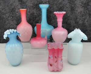 (7) Antique Mt. Washington Victorian Blue, Pink, & Peach MOP Satin Glass Vases
