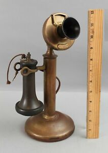 Antique Complete c1913 American Tel & Tel Candlestick Dial No 323 Telephone NR