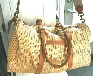 Vintage Polo Ralph Lauren Duffle Weekend Bag Wicker Rattan Basket Tan Leather